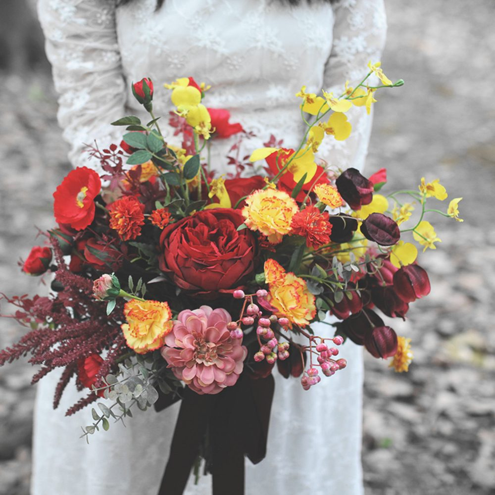 Wildflower Bridal Bouquet, Autumn Burgundy & Orange Bouquet For Classic Wedding, Rustic Boho Bouquets in Rose, Peony Daisy