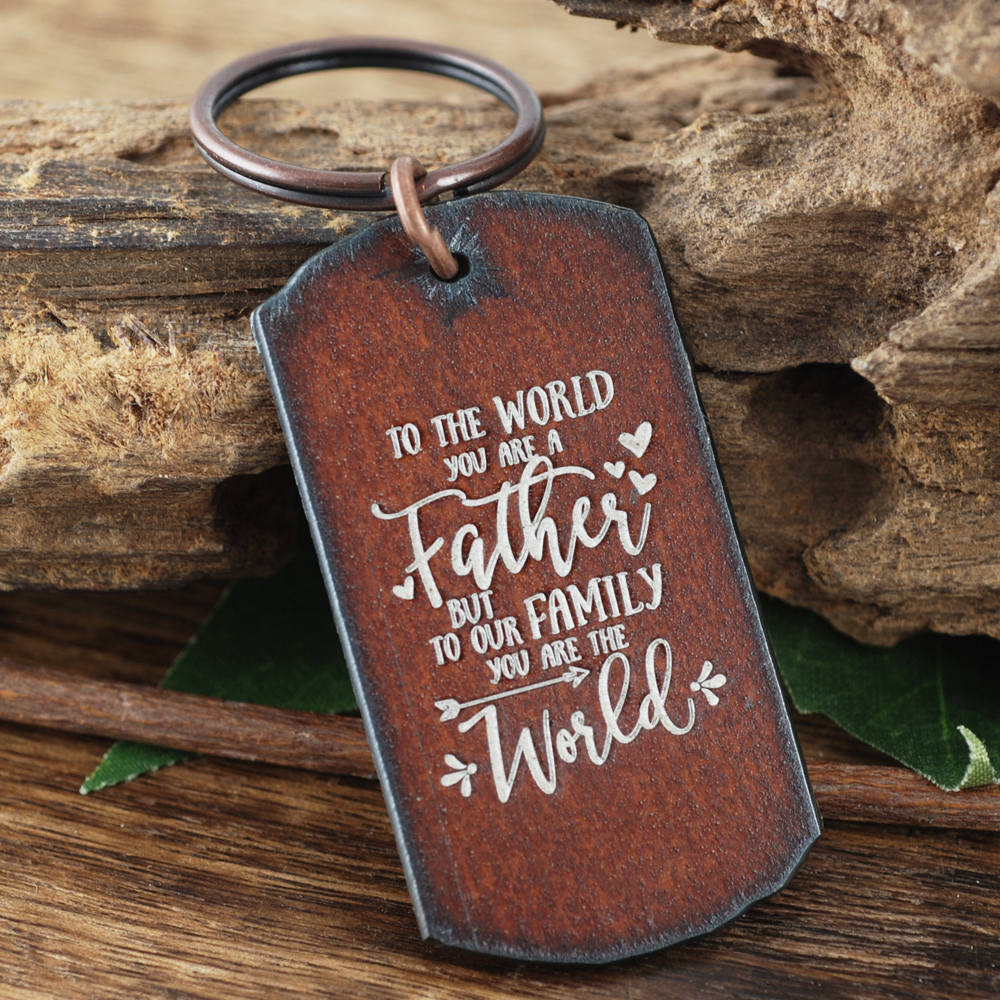 Keychain For Dad, To The World You Are A Father Keychain, Gift Dog Tag Rustic Christmas Dad