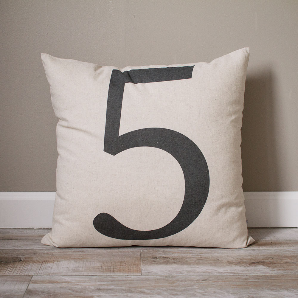 Typography Number Pillow Cover | Personalized Custom Gift Monogrammed Rustic Home Decor Farmhouse