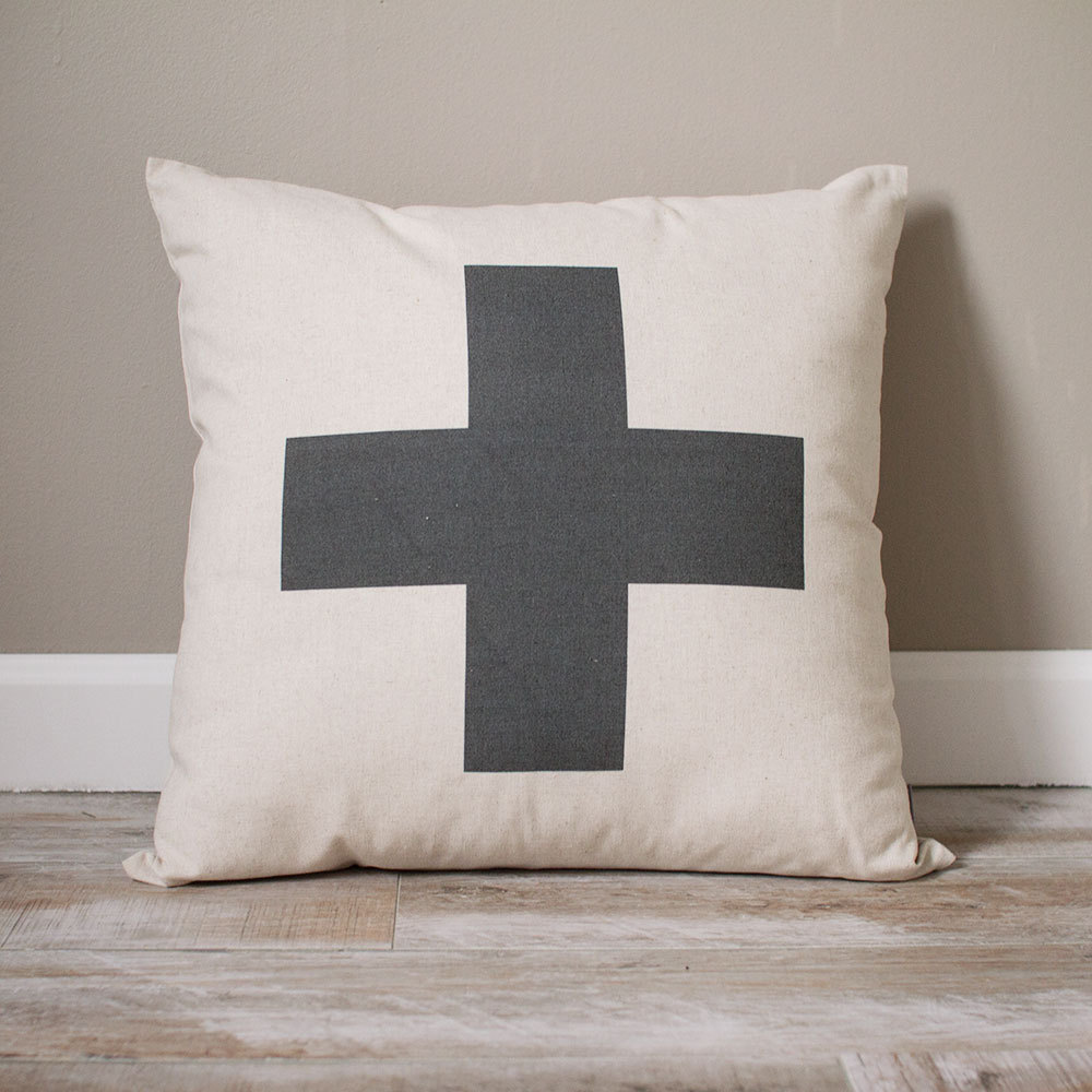 Swiss Cross Pillow | Personalized Custom Gift Monogrammed Rustic Home Decor Decorative Pillows Farmhouse