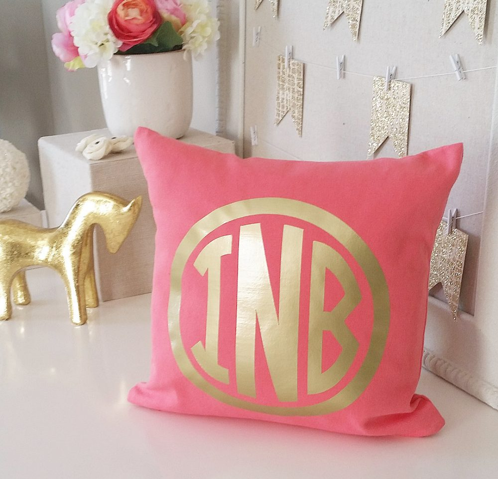 Sale Coral Monogram Decorative Throw Pillow Cover, Personalized Farmhouse Covers, Custom Wedding Accent Pillows Overstock Inventory
