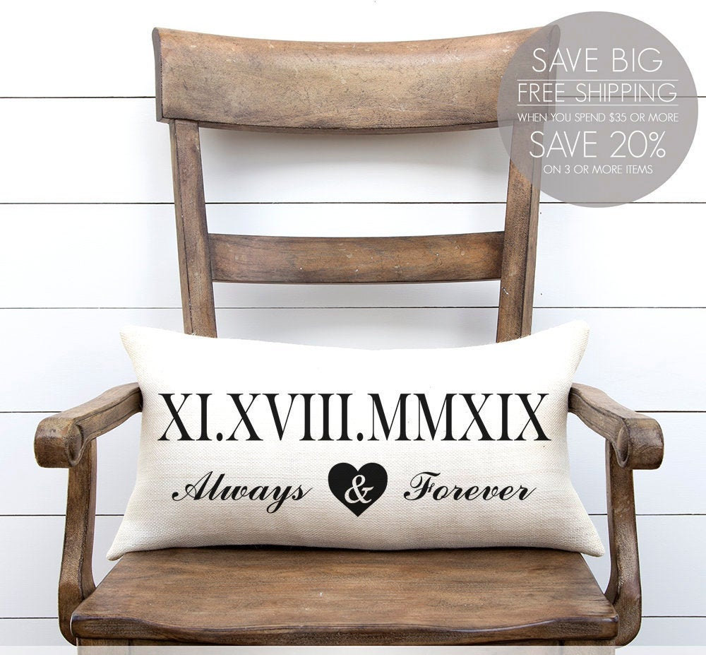 Roman Numerals, Numerals Pillow, Wedding Date, Lumbar Personalized Customized Date Always & Forever