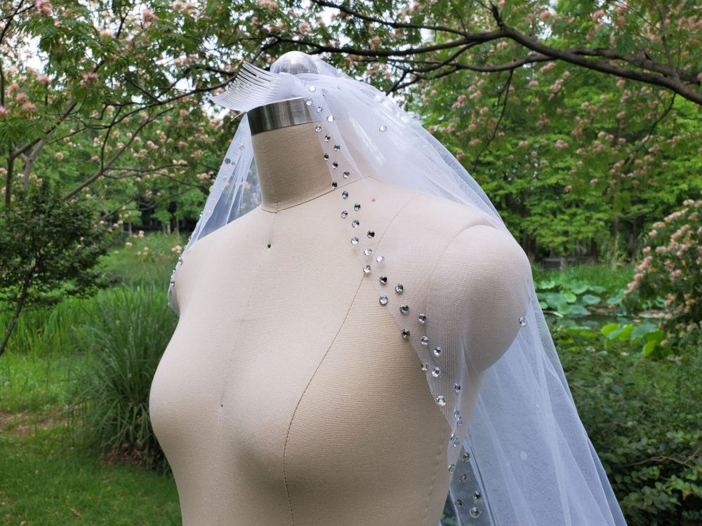 "New 1 Tier Rhinestone Bridal Veil /White Mantilla Veils/Ivory 110"" Veil /Wedding /Blush Veil& Comb"