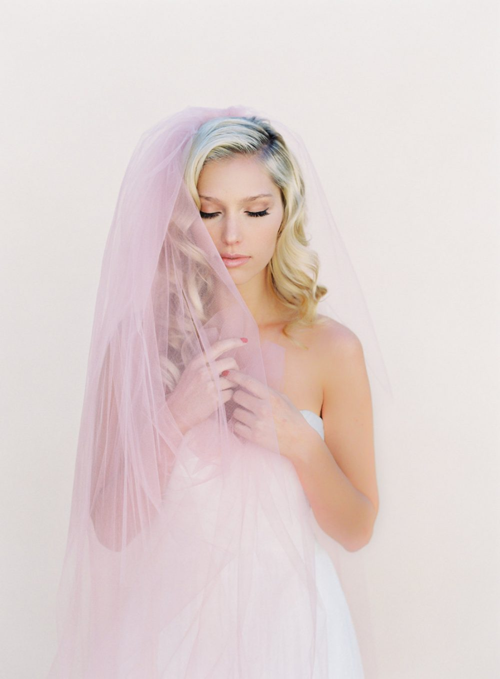 Blush Veil-Little Something-Simple Wedding Veil-Ivory Simple Veil-Soft Veil - Chapel Length Veil-Wedding Veil Blusher-Boho 0802
