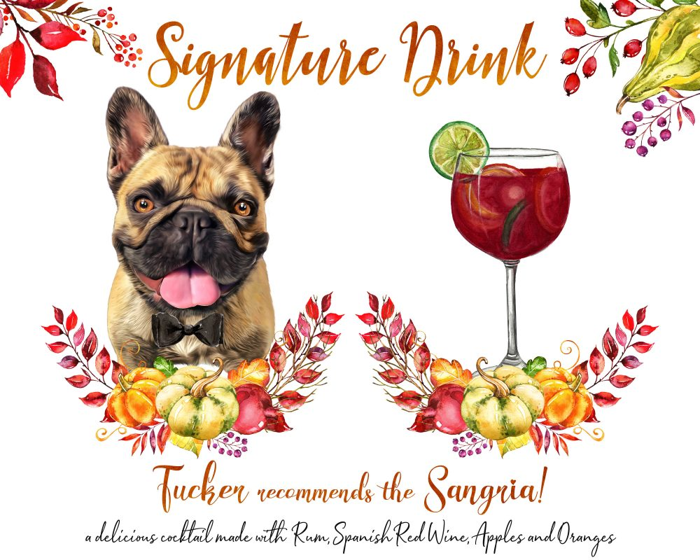 Fall Wedding Decor, Printable Sign, Dog Wedding, Signature Drink Cocktail Custom Pet Sign