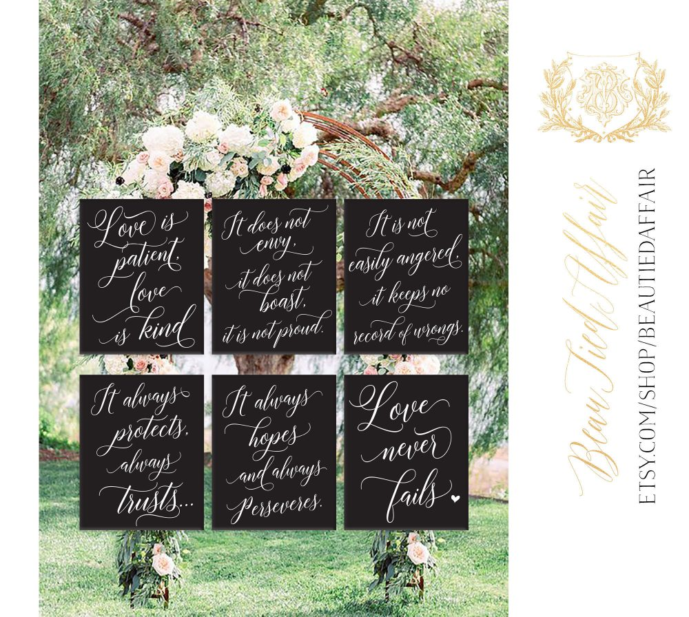 Set Of 6 Wedding Aisle Signs, 1 Corinthians 13 Love Is Patient, Kind, Hand Painted Signage, Signs 16x20