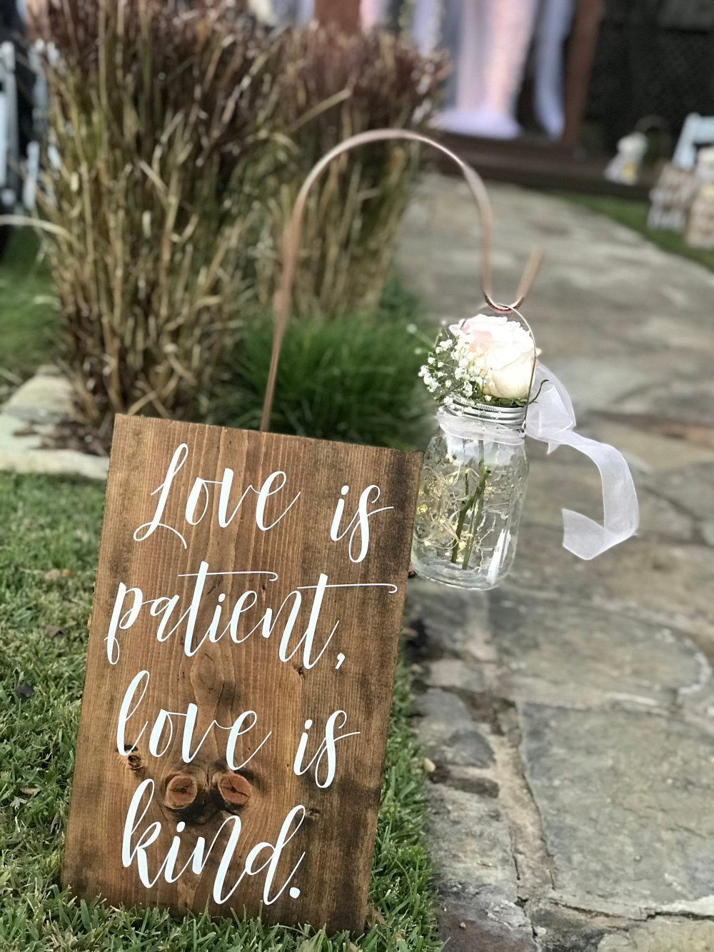 Set Of 10 Wedding Aisle Signs - Decor Love Is Patient, Is Kind 1 Corinthians 13 Sign