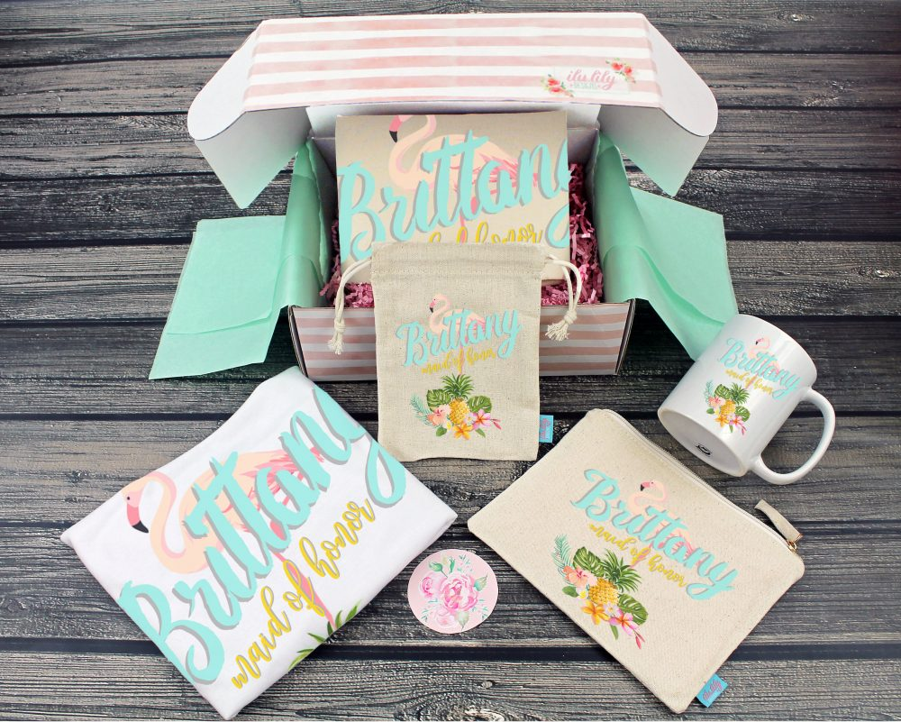 Bridesmaid Proposal Box - Personalized Gift - Will You Be My Maid Of Honor Ideas-Flamingo