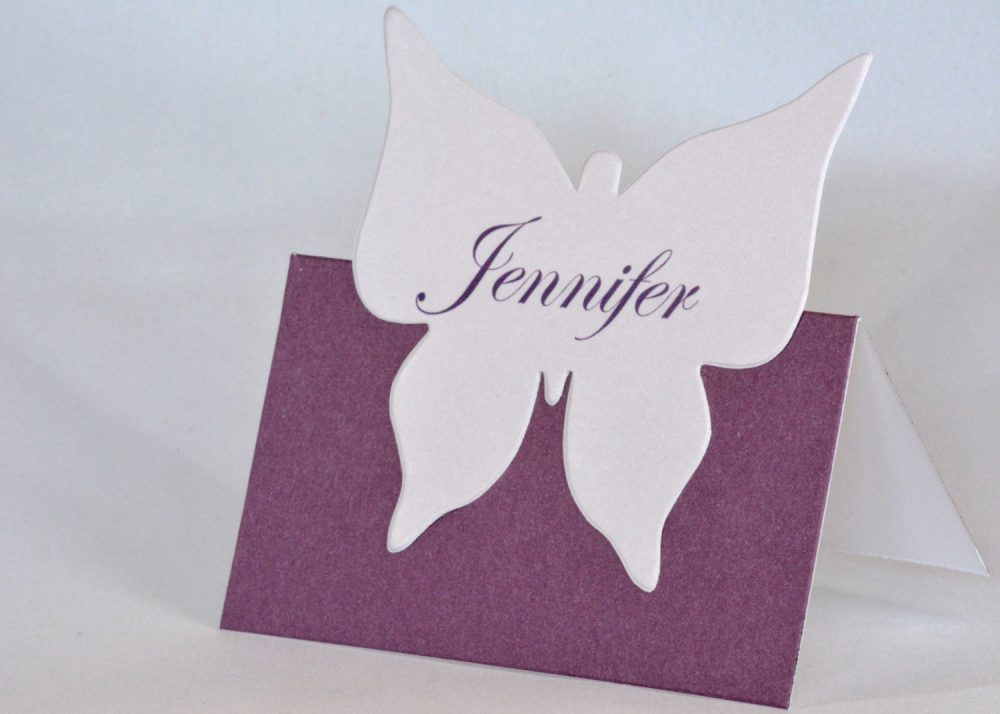 10 Purple Butterfly Place Cards