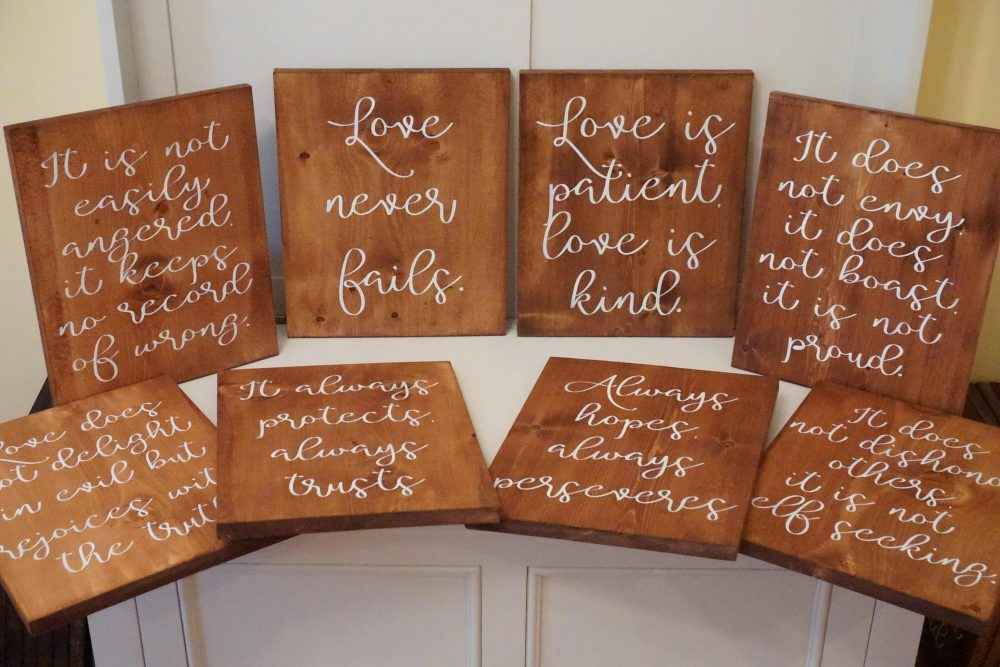 Wedding Aisle Signs. Love Is Patient. Is Kind. Decor. Rustic 1 Corinthians 13. Never Fails