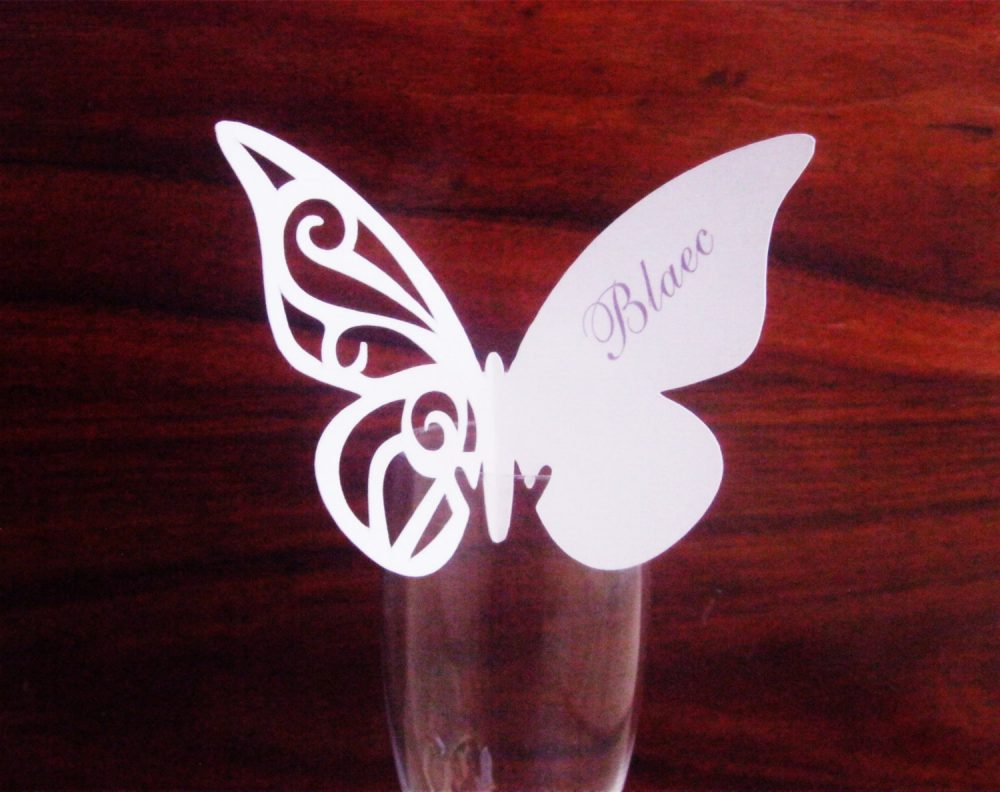 Mariposa, Butterflies Place Card Personalized Wedding Placecards, Reception, Escort Cards, Dinner, - Choose Your Colors