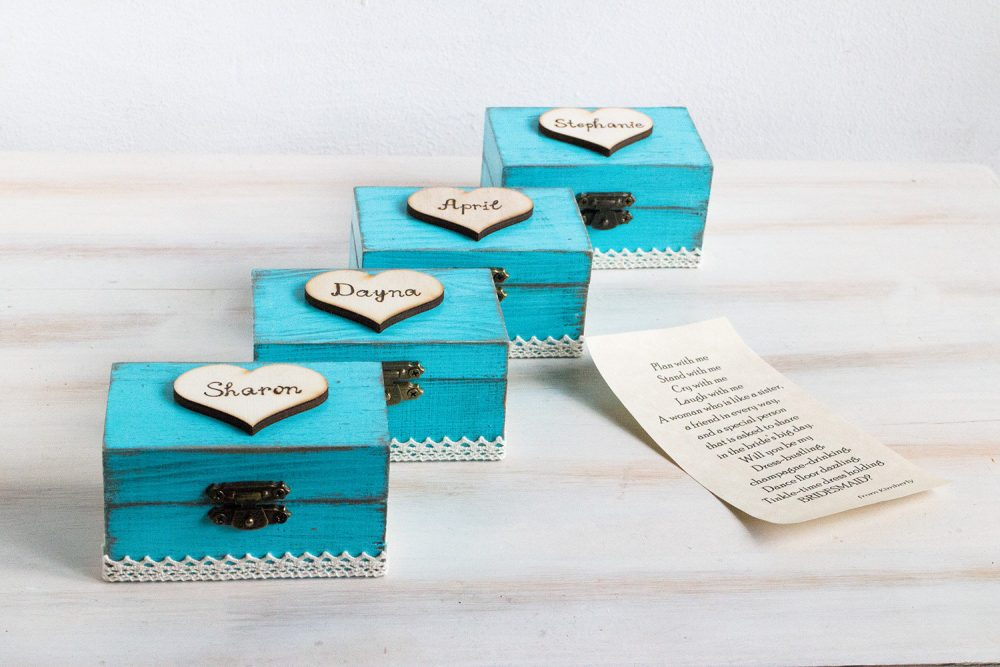 Bridesmaid Proposal Box Will You Be My Proposal Maid Of Honour Bridal Party Gift Blue Personalized Set