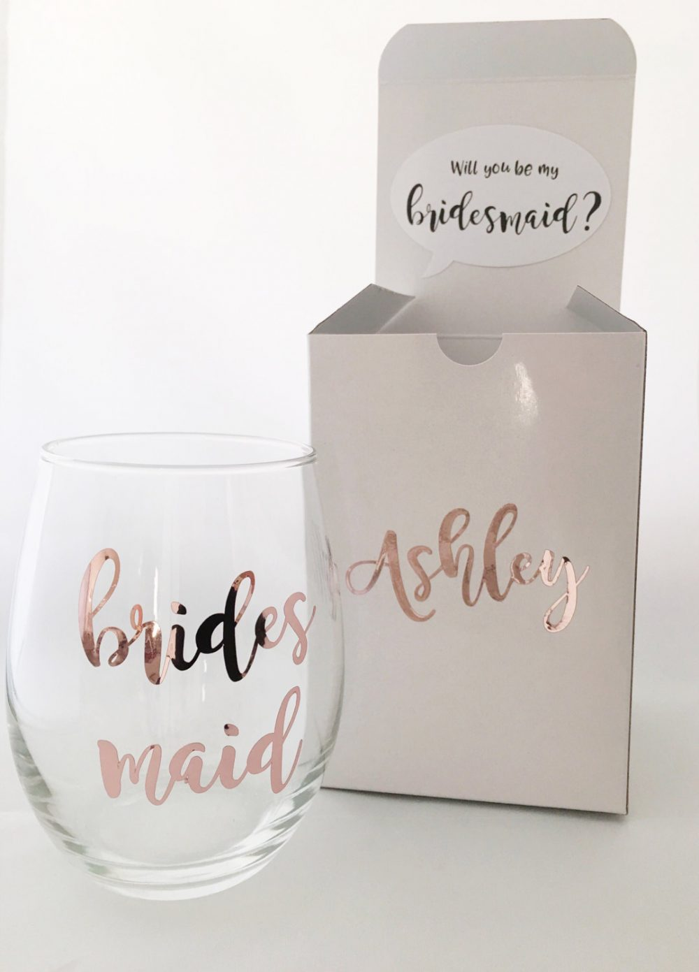 Bridesmaid Proposal Box, Proposal, Rose Gold Wedding, Will You Be My Bridesmaid, Gift, Wine Glass Proposal, Bridal