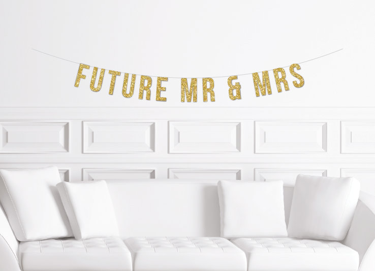 Future Mr & Mrs Banner/Gold Glitter Engagement Party Decor Ideas Jack & Jill Bridal Shower Sign Decorations
