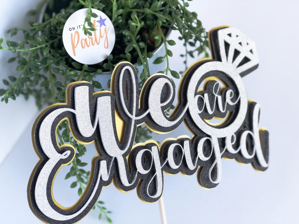 We Are Engaged Cake Topper, Custom Engagement Cake Topper, Engagement Party Decorations, Bridal Shower Topper
