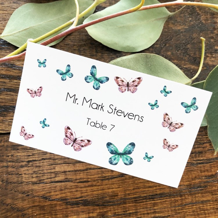 Wedding Place Cards Butterfly Design Name Card Table Birthday Escort Setting Seating Rustic