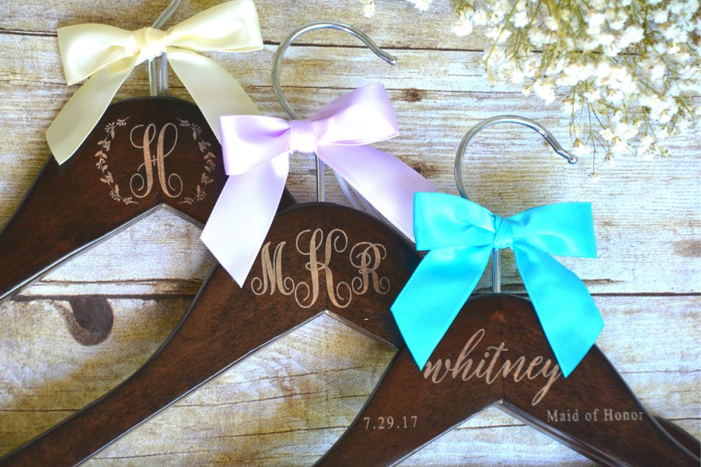 6 Bridesmaids Gifts, Personalized Wedding Hangers, Bridesmaid Dress Engraved Wood Hanger, Mother Of The Bride