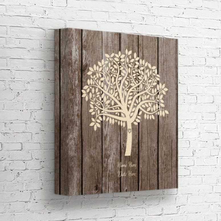 Wedding Tree Guest Book Alternative, Guestbook, Personalized Leaf Tree, Anniversary Gift, Names Date Canvas Sign, Wt5