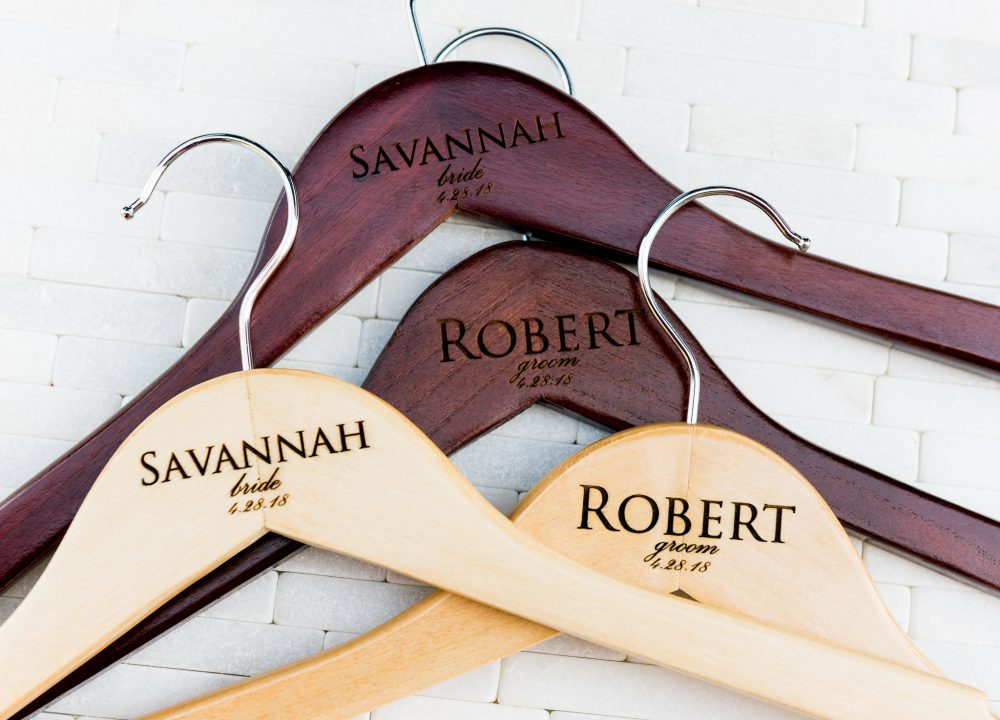 Personalized Wedding Dress Hangers Calligraphy Bride Bridesmaid Groomsman Gift For The Couple Matron Maid Of Honor Engraved Wood Quick Ship