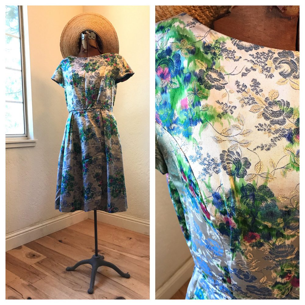 1950's Brocade Floral Wiggle Dress | Rare Watercolor Design 50's Semi Formal Wrap Day Event Silver Blue Pink Green Fits Medium