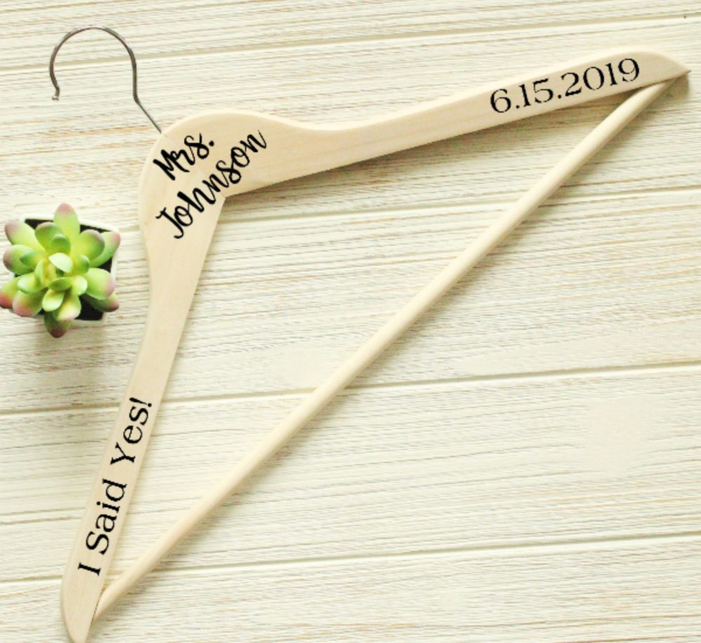 Mr & Mrs Personalized Hanger, Bridal Wedding Dress Grooms Suit Honeymoon, Last Name, Date, Script