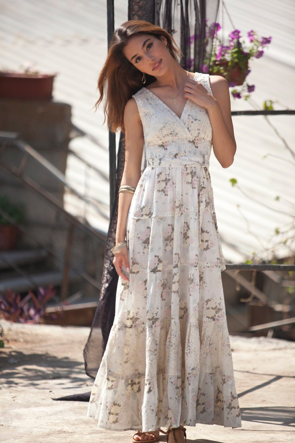 Cream Floral Maxi Sun Dress, Romantic Casual To Special Occasion Summer Bohemian Cotton & Lace Long Flower Carrie Dress