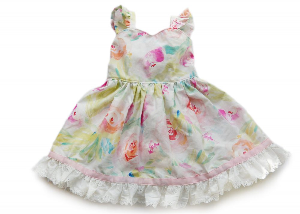 Pastel Floral Easter Dress, Dress With Lace, Pink & White Toddler Flower Spring Birthday Sweetheart
