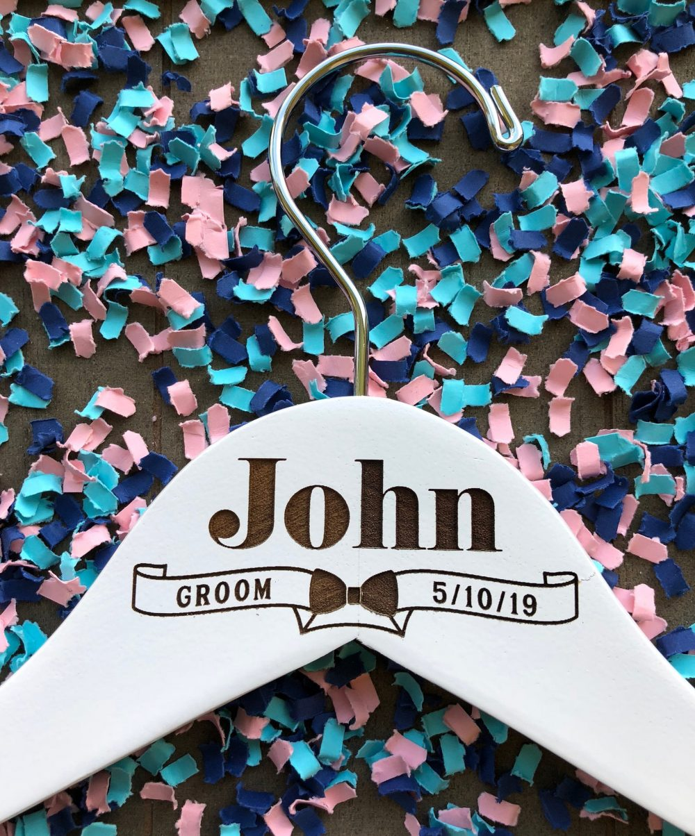 Custom Groom Hangers // Personalized Tuxedo Laser Engraved Groomsman Hanger Best Man Gift Wedding Suit Hanger