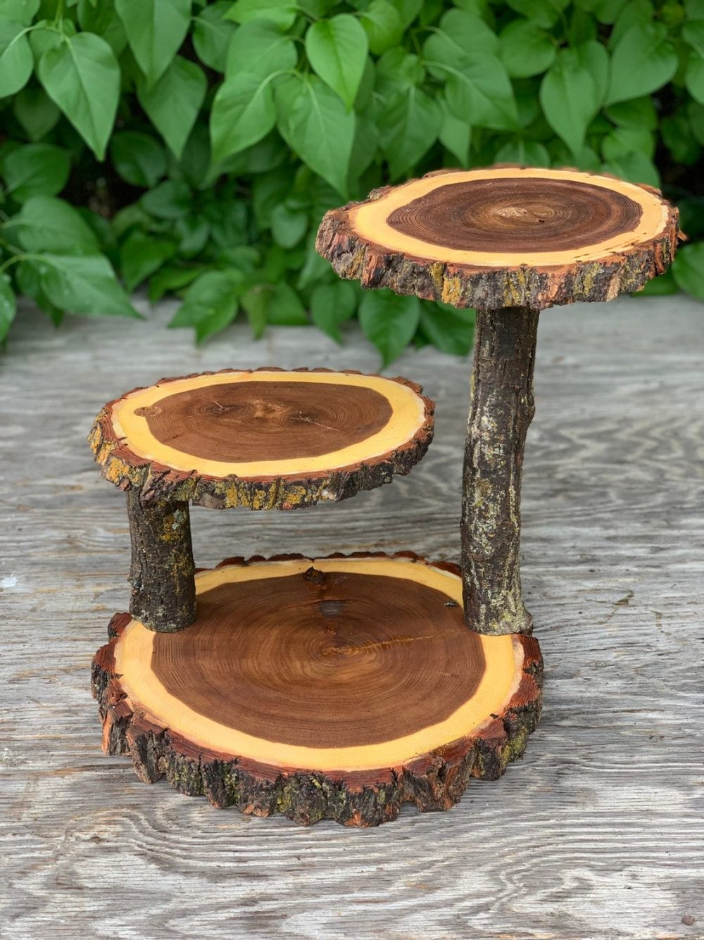 Jumbo 3 Tiered Elm Wood Rustic Cake 30 Cupcake Stand Collapsible Wedding Party Donut Outdoor Wedding Log Lumberjack Shower Wooden Tiered