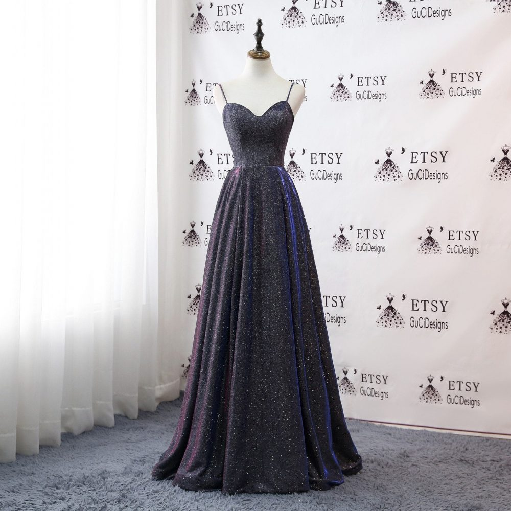 2019 Newest Fashion Sequin Satin Prom Dress Gray Purple Long A-Line Sexy Straps Evening Dresse Dazzling Women Formal Party Gown With Pockets