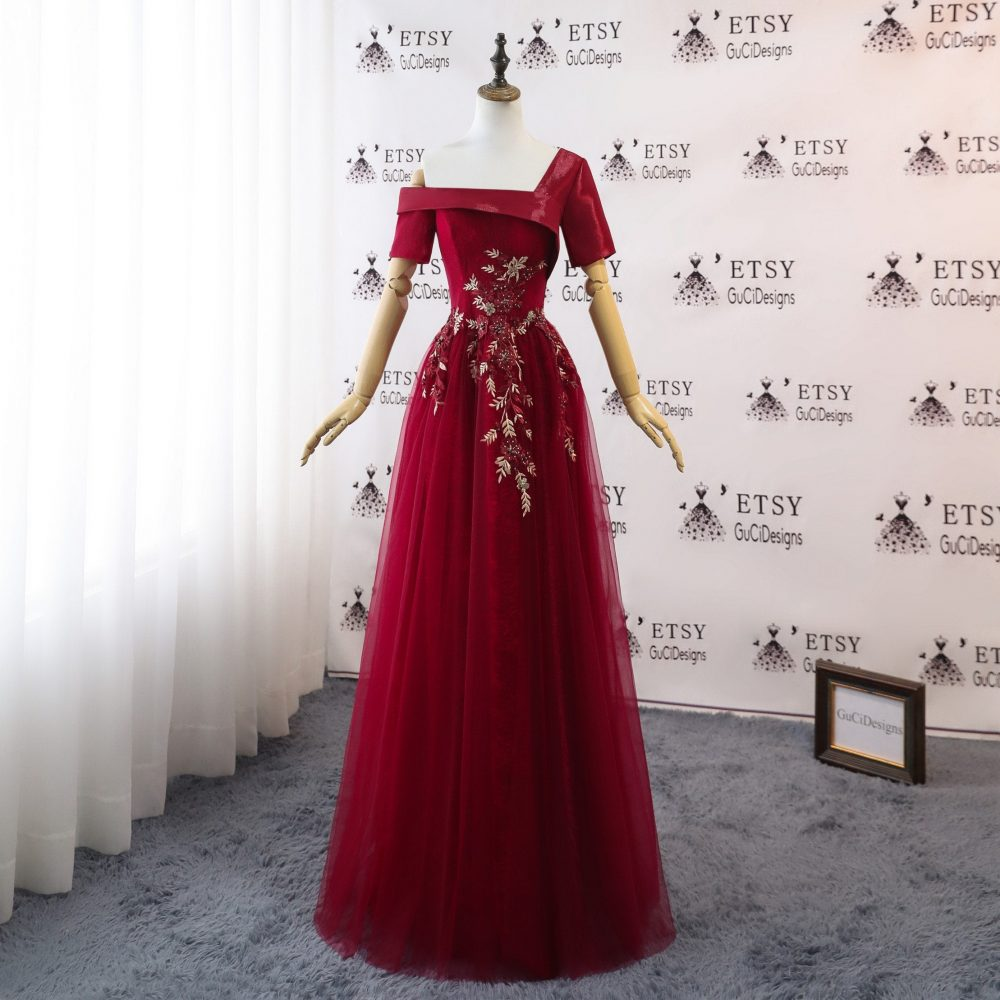 2020Newest Fashion Mesh Prom Dress Unique Design Burgundy Red One Shoulder A-Line Sexy Evening Embroidery Lace Women Formal Party Gown