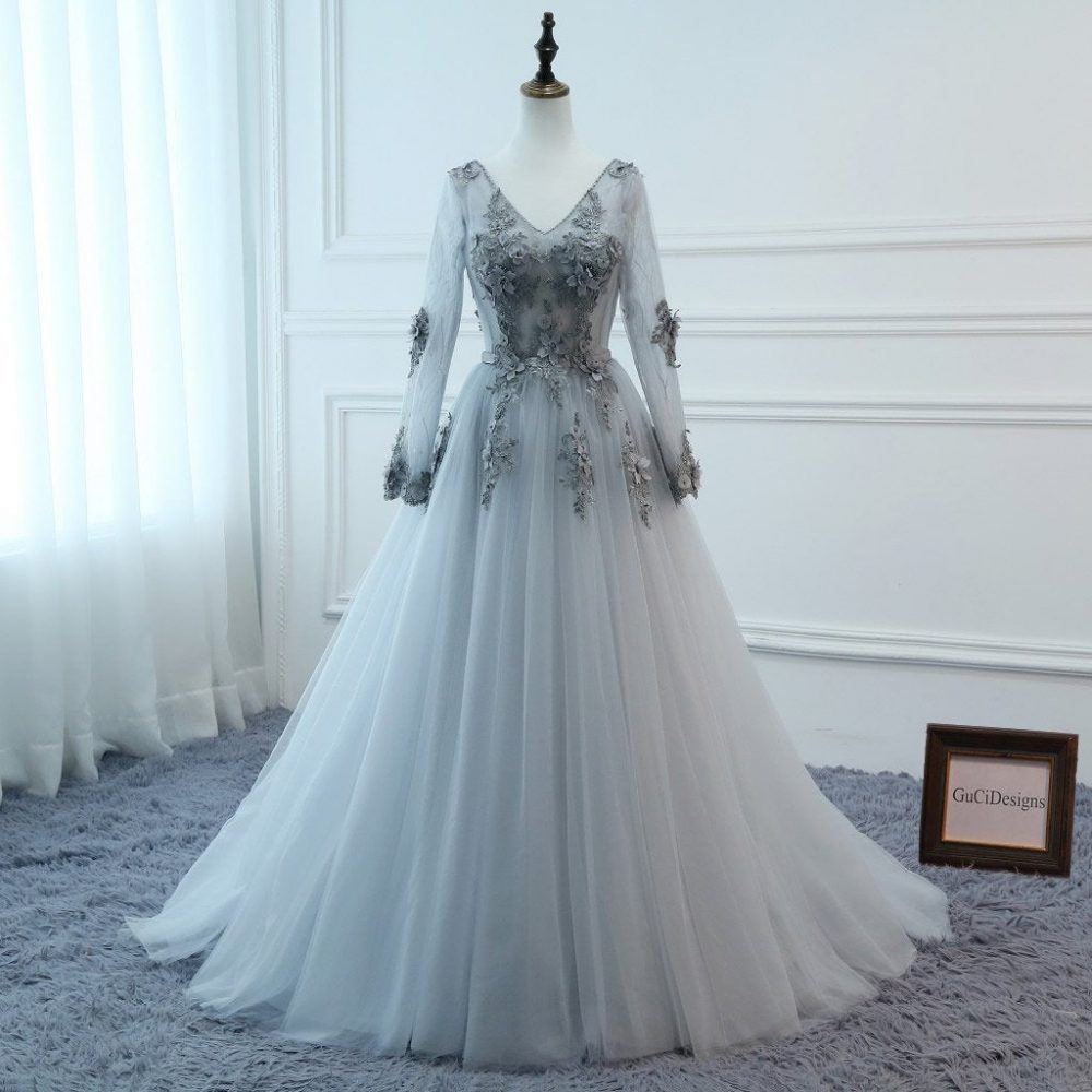 Prom Dresses Long Gray Sleeve Dress Evening Floral Tulle Appliques A-Line Women Formal Party Gown Fashionable Bride