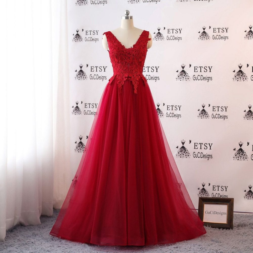 Prom Dresses Long Red Applique Evening Open Back Floral Tulle Dress Sexy A-Line Women Formal Party Gown Fashionable Bride