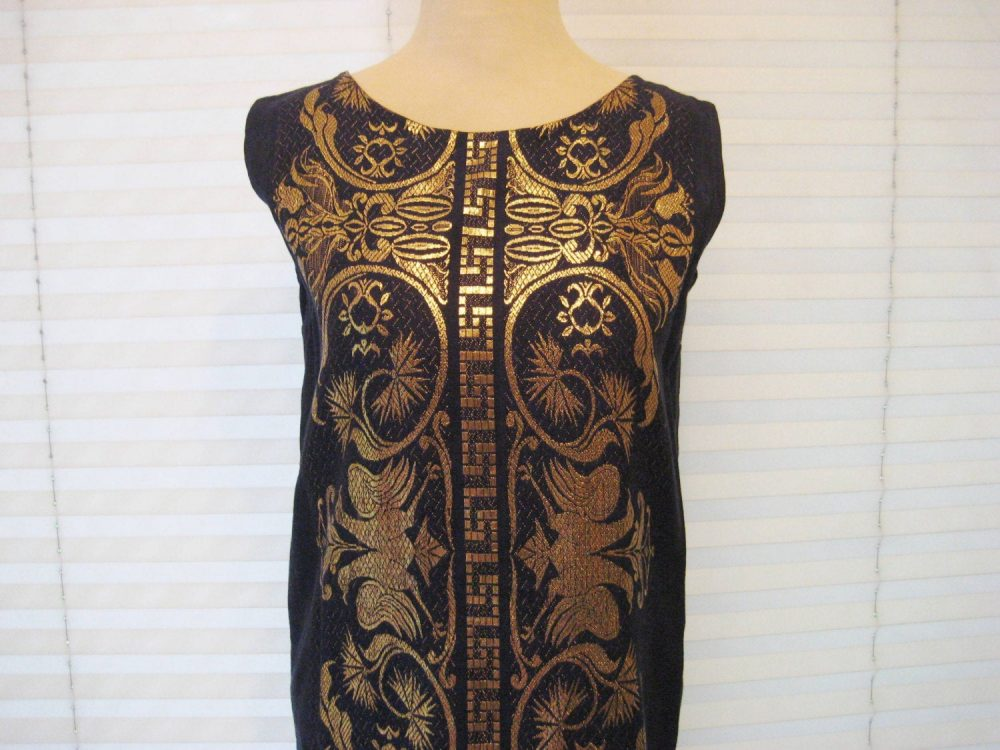 Navy Blue & Gold Lame Straight Dress, Shift Formal Party 60S A-Line Size Medium