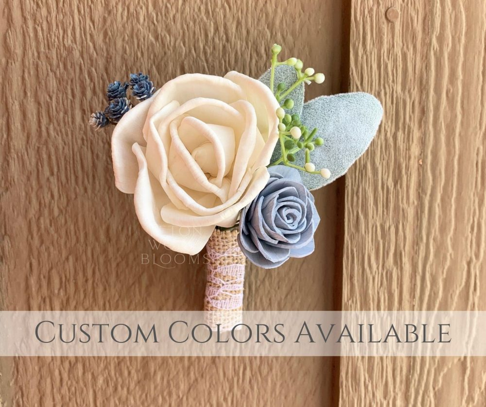 Wood Flower Boutonniere/Ivory & Blue Rustic Bridal Bridesmaid Bouquet Wooden Sola Flowers White Cream