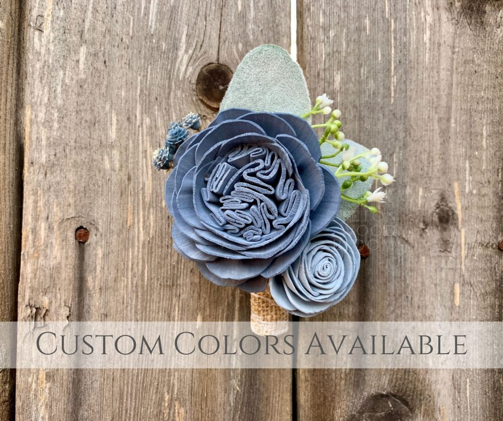 Wood Flower Boutonniere/Slate Blue Rustic Bridal Bridesmaid Bouquet Wooden Sola Flowers Cabbage Rose