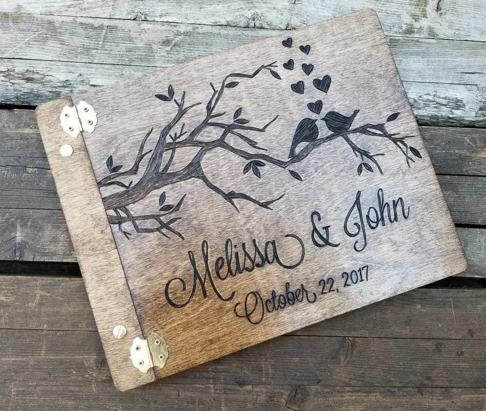 Wedding Guest Book, Love Birds Wooden Rustic Guest Custom Personalized Advice Shower Gift, 8.5x11 Guestbook
