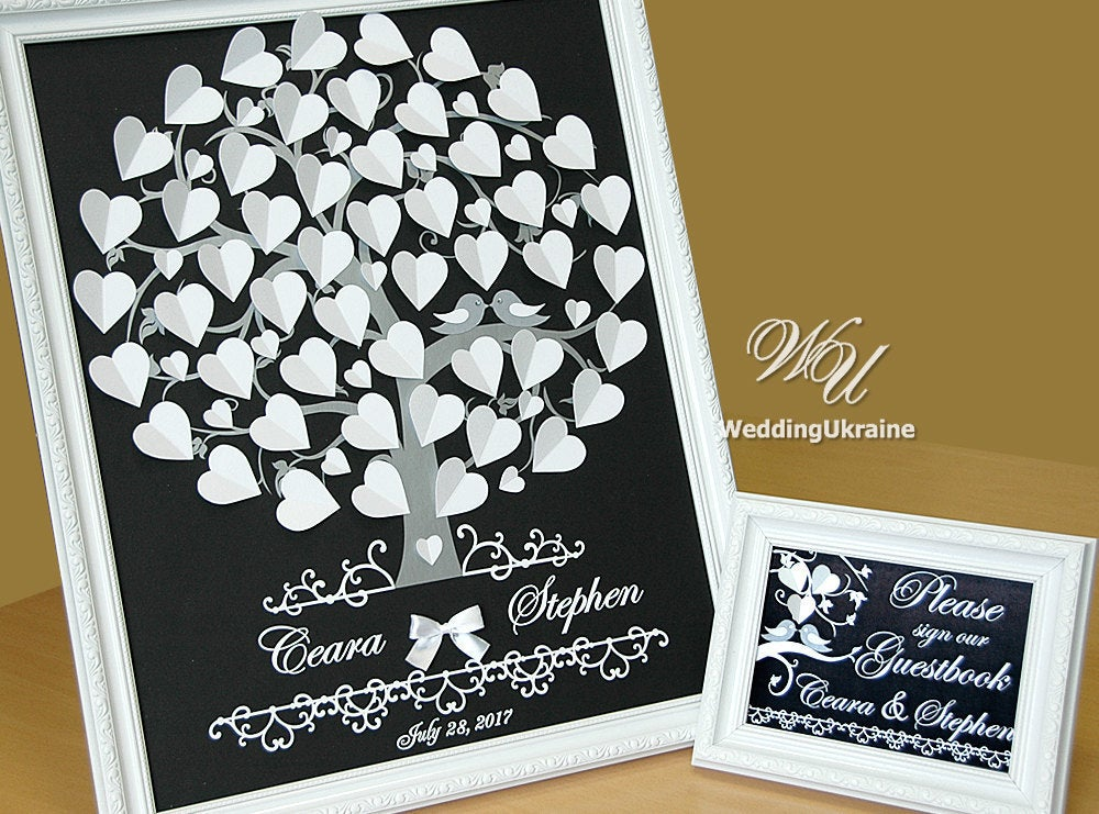3D Wedding Guest Book Idea Classic Black & White Tree With Hearts & Silver Love Birds Modern Alternative To Traditional Wedding Guestbook