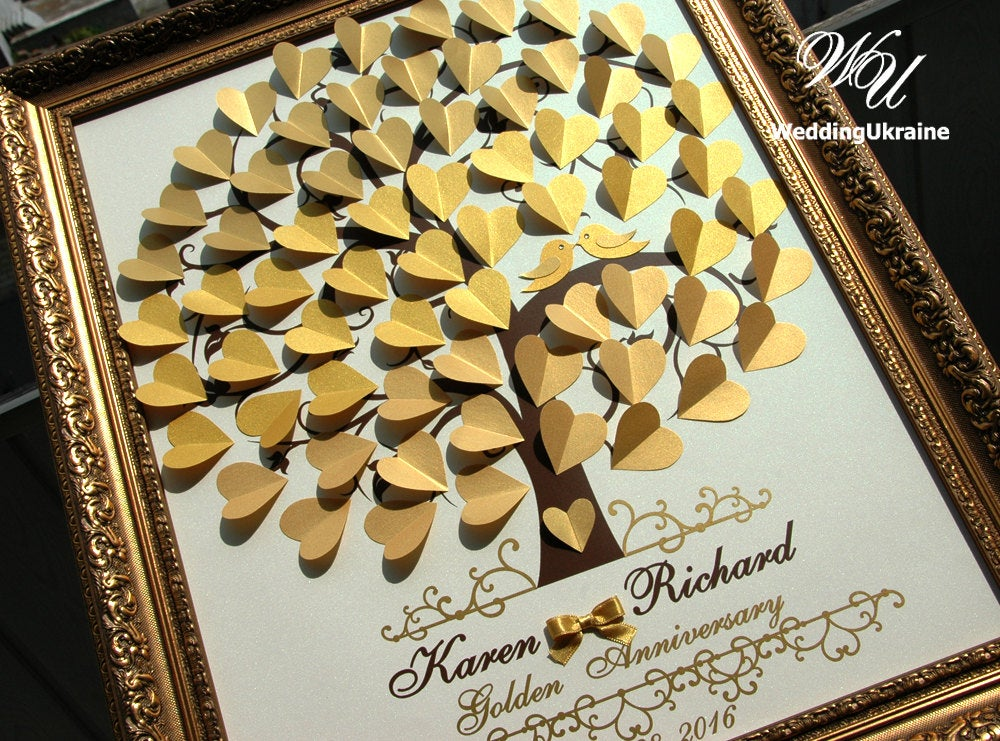 Gold Ombre Wedding Guest Book Idea - 3D Tree With Love Birds Shadows Of Modern Alternative To Traditional Wedding Guestbooks