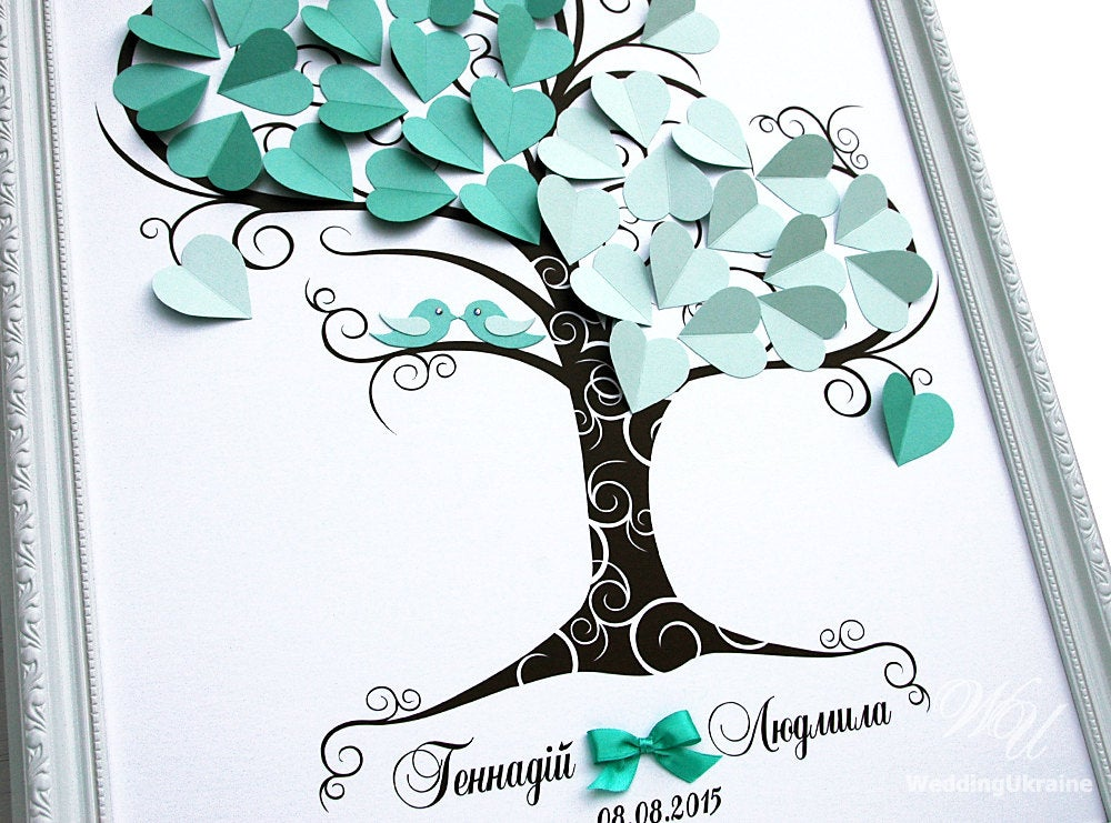 Wedding Guest Book Ideas - Mint Tree Love Birds 3D Tree Modern Alternative To Traditional Guestbooks