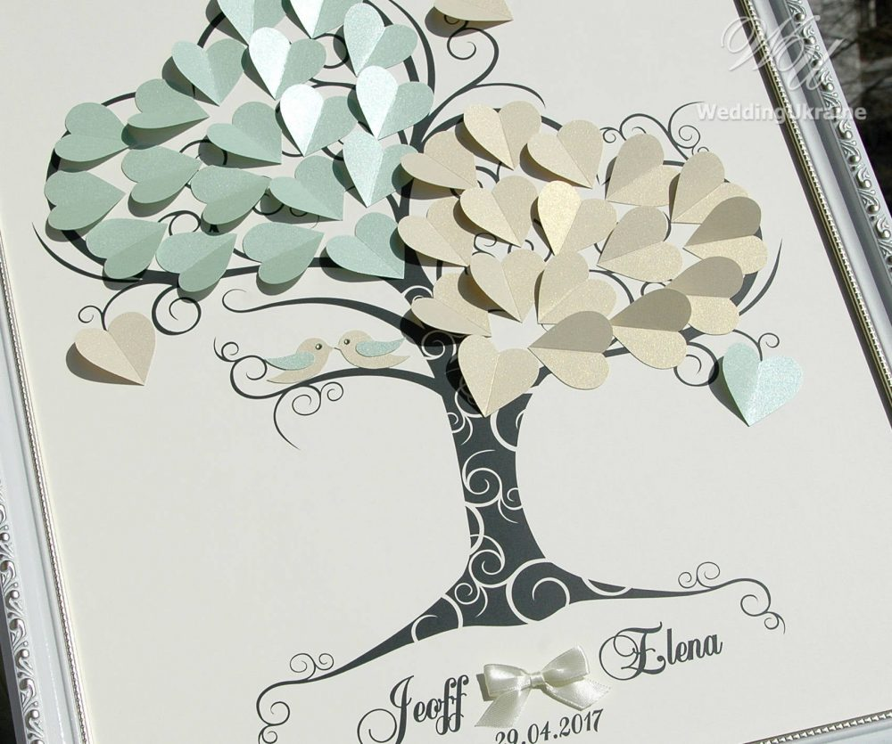Ivory & Mint Wedding Guest Book Ideas - Tree Of Love With Birds 3D Tree Modern Alternative To Traditional Guestbooks