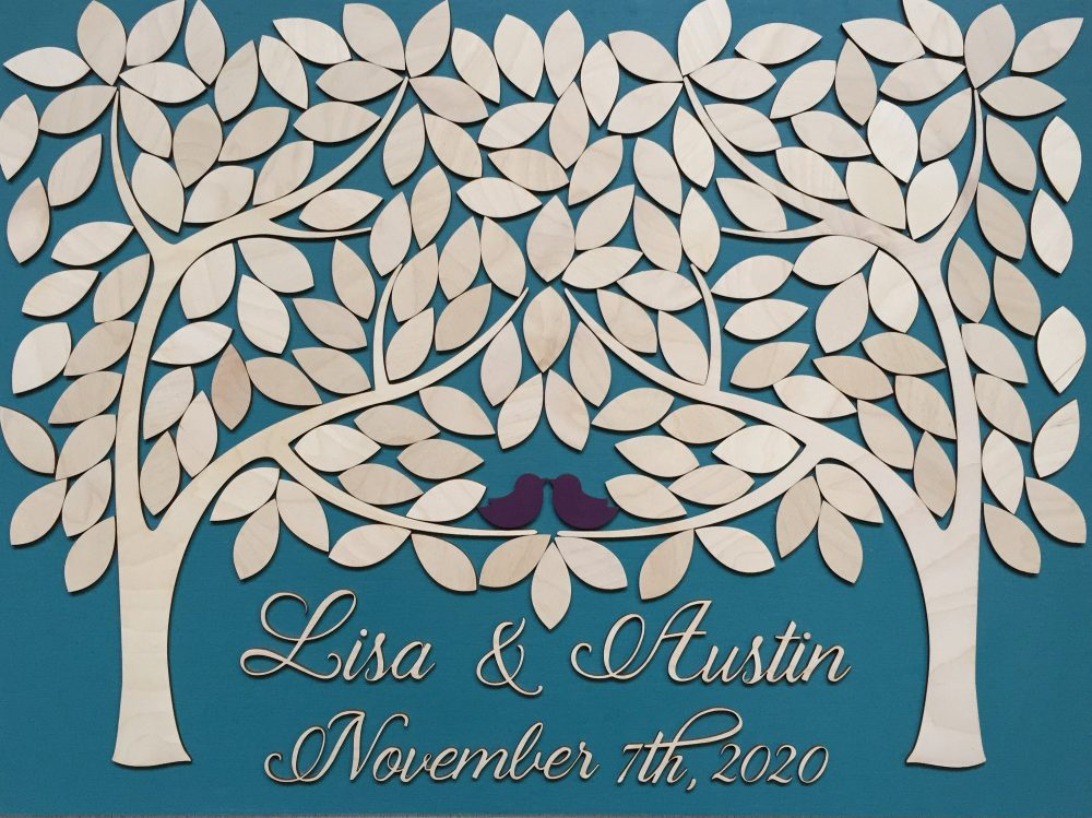 3D Wood Wedding Guest Book Alternative Unique Sign in & Love Birds Leaves To With Customizable Colors, Teal Decor
