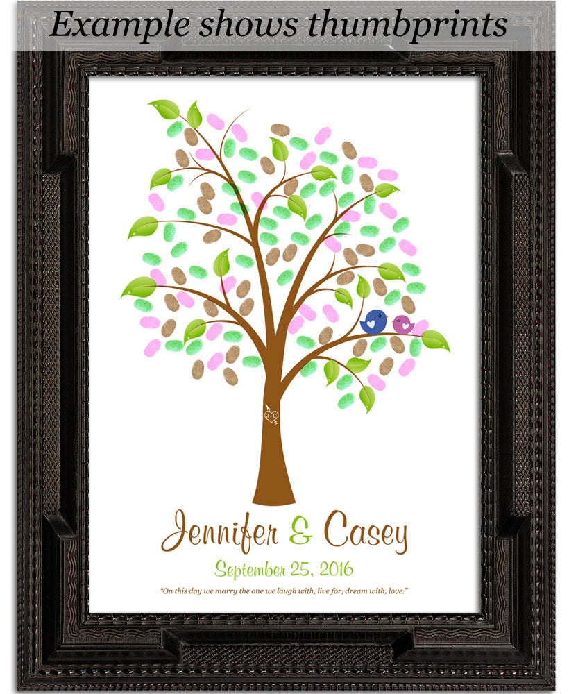Fingerprint Guest Tree, Wedding Poster, Thumbprint Stamp Tree Guest Book, Love Birds, Thumbprint Tree, 20x30 Num.140