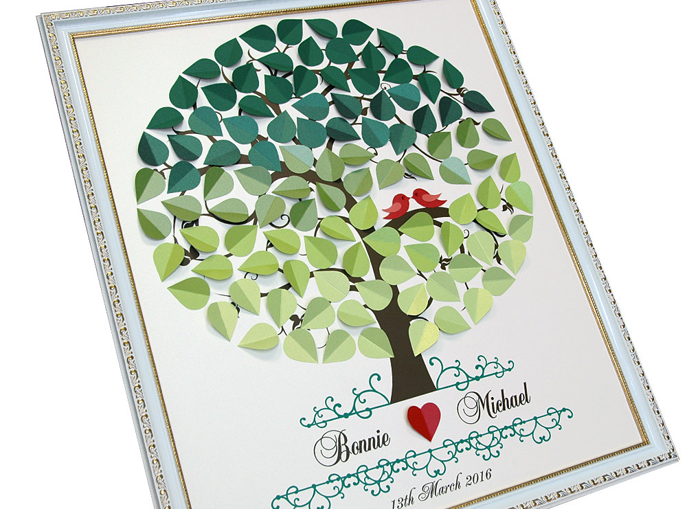 Wedding Guest Book Ideas - Green Ombre Tree With Love Birds & Heart Signature Shadows Of