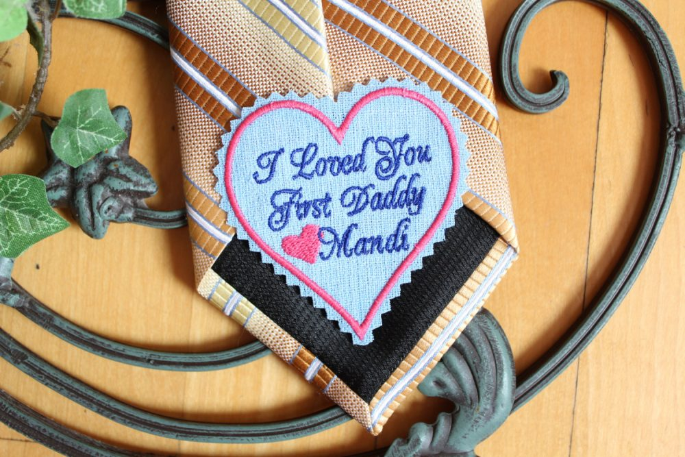 Father Of The Bride Gift, Blue Tie Patch, Label, Hear Shaped, Heart Embroidered, Wedding I Loved You First Daddy, 23F38