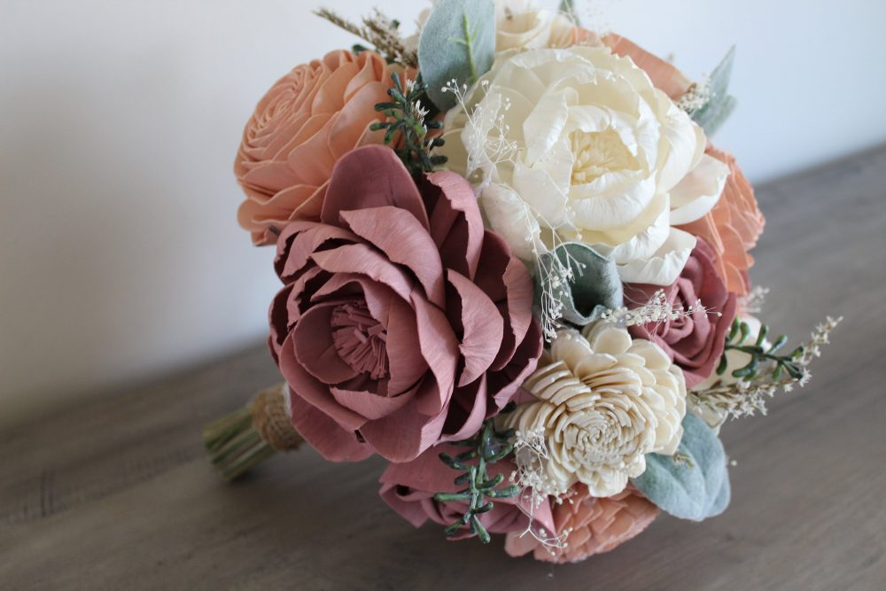 """Wedding Bouquet, Wood Bouquet """"Evelyn, """" Rustic Bouquet, Spring Peony Alternative Natural Blush"""