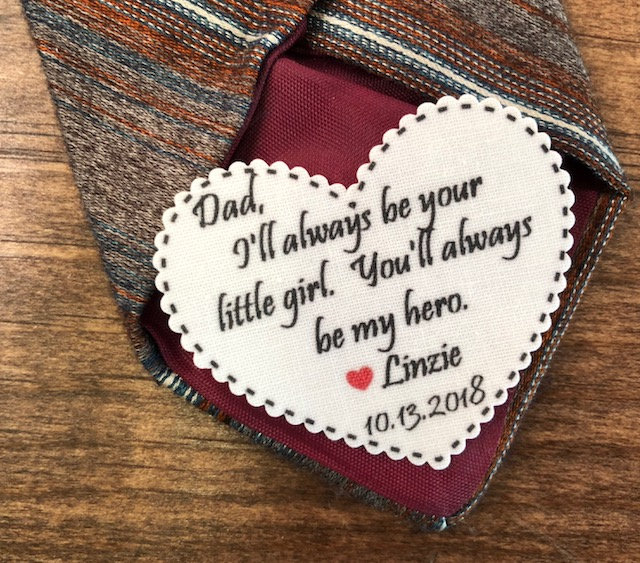 """Father Of The Bride Tie Patch - Always Be Your Little Girl My Hero Ink Printed, Dot Border, 2.25"""" Heart Shape, Sew, Iron On"""