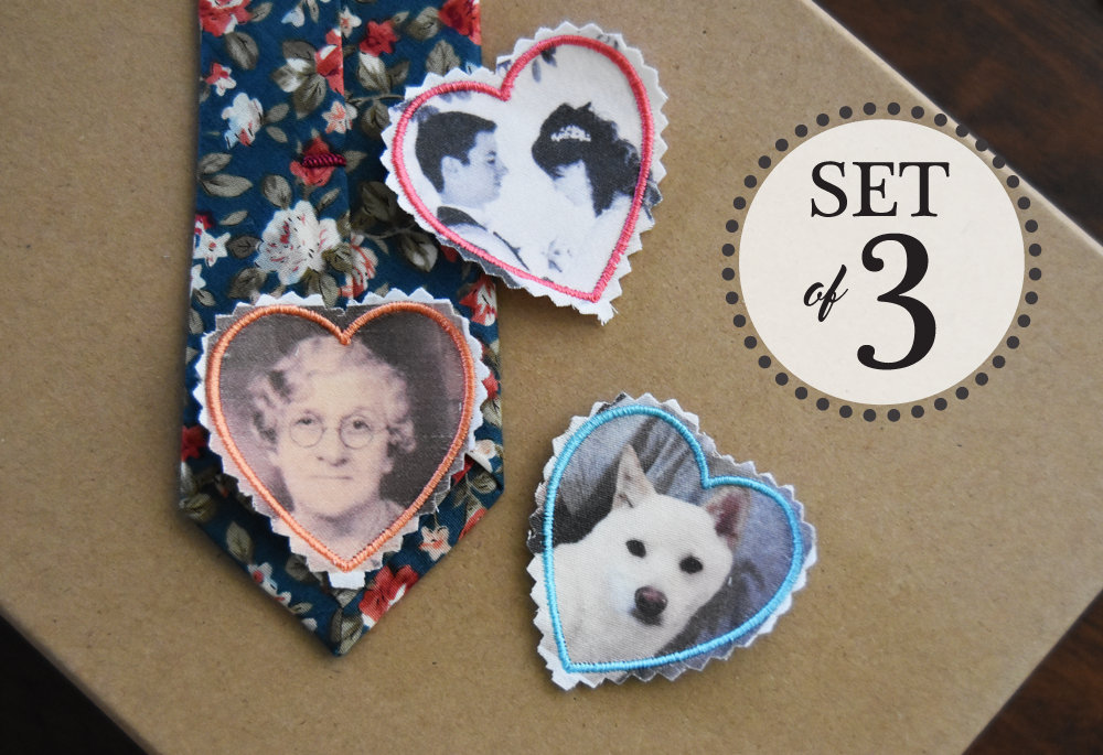 "Embroidered Photo ""Skinny"" Tie Patches For Your Loved Ones Free Gift Case Memory Love Note 