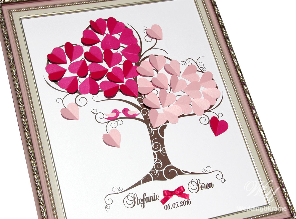 Wedding Guest Book Ideas - Personalized Pink Love Tree With Birds 3D Tree Guestbook Modern Alternative To Traditional Guestbooks