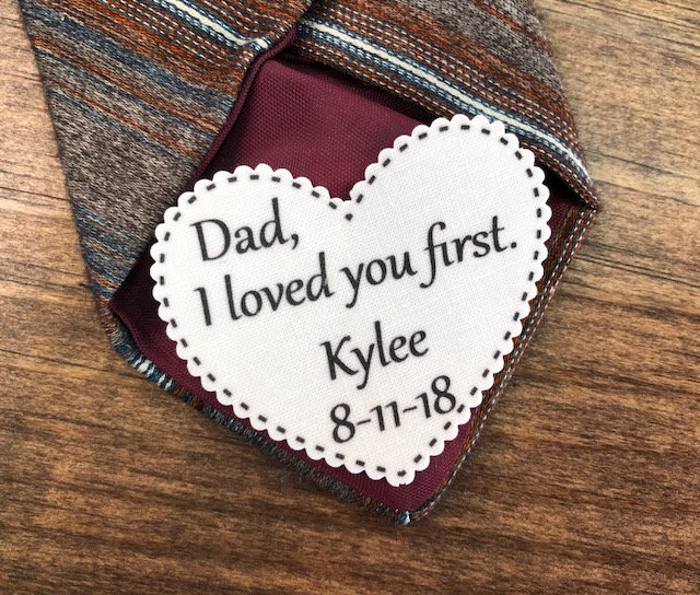 "2.25"" Heart Shaped Dad Tie Patch, Dot Border, Choose Message, Font, Sew On, Iron Father Of The Bride, Groom Or"